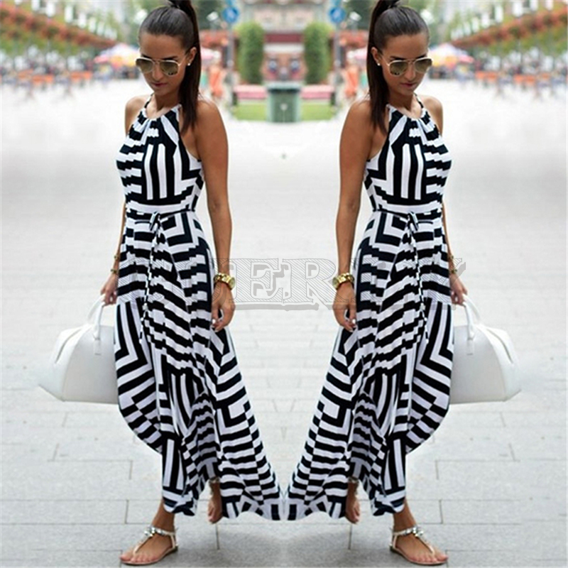CUERLY Women Sexy Summer Dress Boho Striped Sleeveless Maxi Long Dresses Beach Style Strap Sundress For Female in Dresses from Women 39 s Clothing