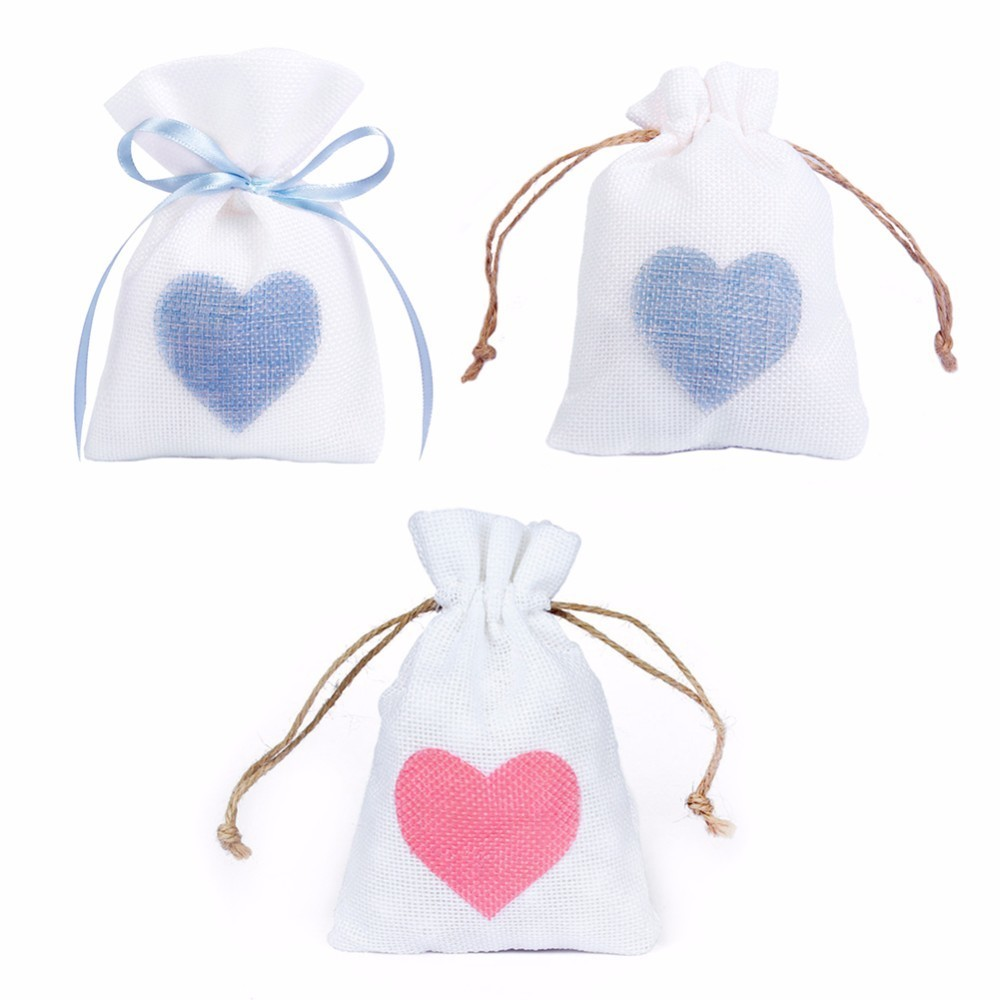 10*14cm Trendy White Natural Linen Drawstring Wedding Favor Bags ...