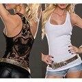 Tanque Das Mulheres tops 2016 Moda de verão Sexy Lace tops Blusas de Crochê Volta Oco mulher T Camisas Sem Mangas Camisola Colete