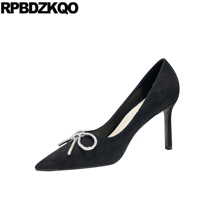 Black High Heels Crystal Party Stiletto Size 33 Bow Pumps Suede Rhinestone Designer Brand Shoes Women Pointed Toe 3 Inch Famous high quality suede wedding party dress shoes women pointed toe stiletto brand pumps bow fringe embellished high brands