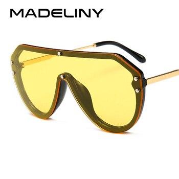 MADELINY Moda Kadınlar Boy Güneş Gözlüğü 2018 YENI Oval Vintage Asetat Çerçeve Erkekler güneş gözlüğü Gözlük UV400 MA387