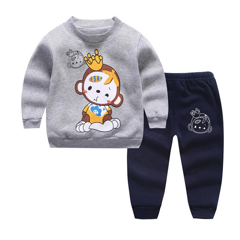 1-4Y2pcs set baby girls clothing set children thicken winter warm clothes suit kids girls cartoon cute tracksuit sets