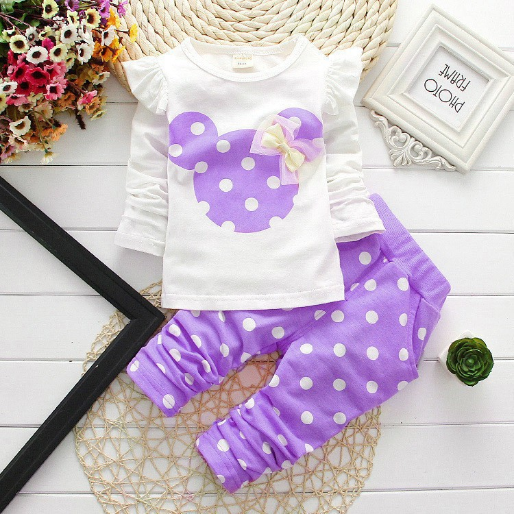 370a9e3bd06bf Unkids new fashion girls clothing sets minnie children clothes bow tops t  shirt leggings pants baby kids suits 2 pcs suit retail-in Clothing Sets  from ...