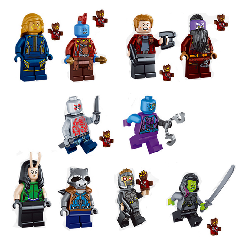 10pcs M278 Guardians of the Galaxy Little People Raccoon Peter Quill Nebula Mantis Glenmora Hugo Drax Man Blocks Gift Kids Toys