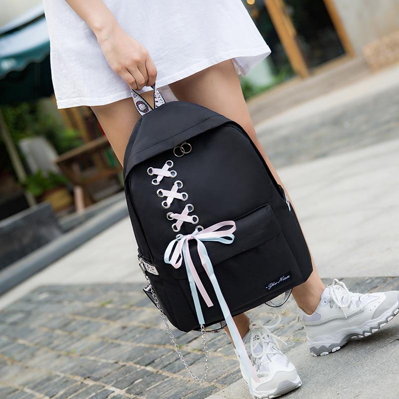 Women Backpack Preppy Style Bookbag For Teenage Girls Lace Bow Student School Backpack Shoulder Teenagers Book Bagpack Mochila