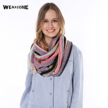 Fashion Womens Warm Winter Knit Polychroism Crochet Infinity Ring Scarf Shawl Cowl Neck mixed colors Circle Cable snood scarf