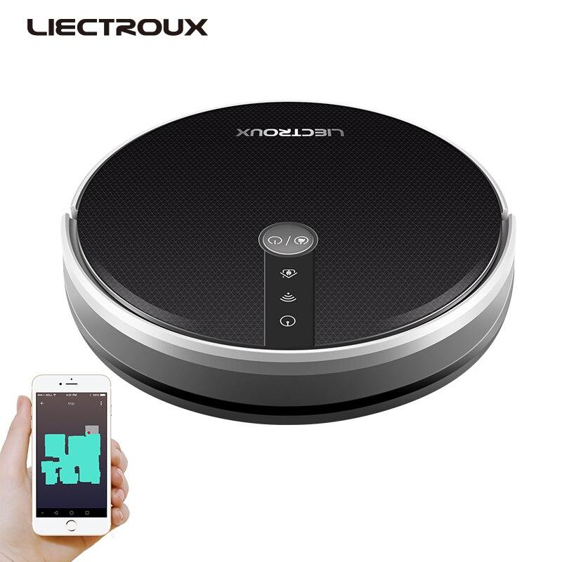 LIECTROUX Robotic Staubsauger C30B, 3000Pa Saug, 2D Karte Navigation, Speicher, karte Gezeigt auf WiFi App, 350ml Elektrische Wasser Tank