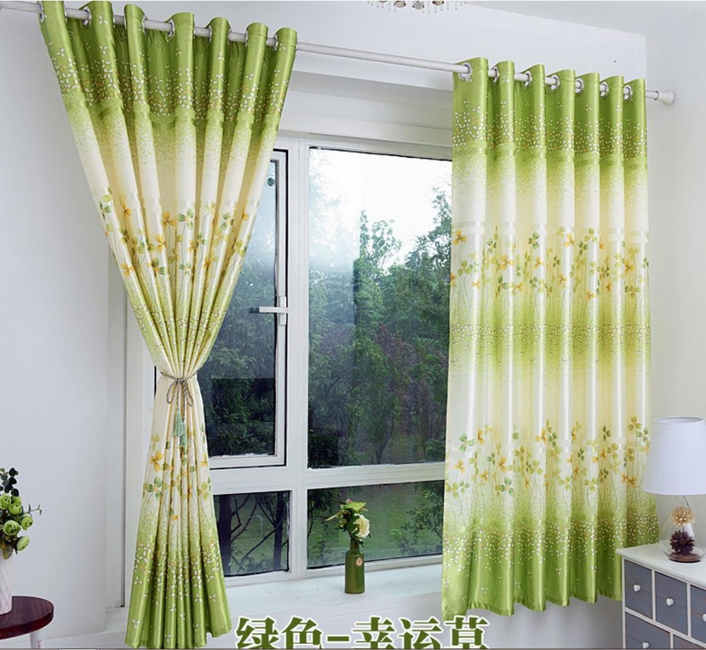 Green bedroom curtains - Free Shipping 2 Meters Tall Green Lucky Grass Curtain Cloth Finished Short Wave Window Curtain And