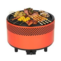 Portable Picnic BBQ Grill Oven Charcoal Round Barbecue Stove Roasting Tray Meat Cooker Outdoor Camping Hiking