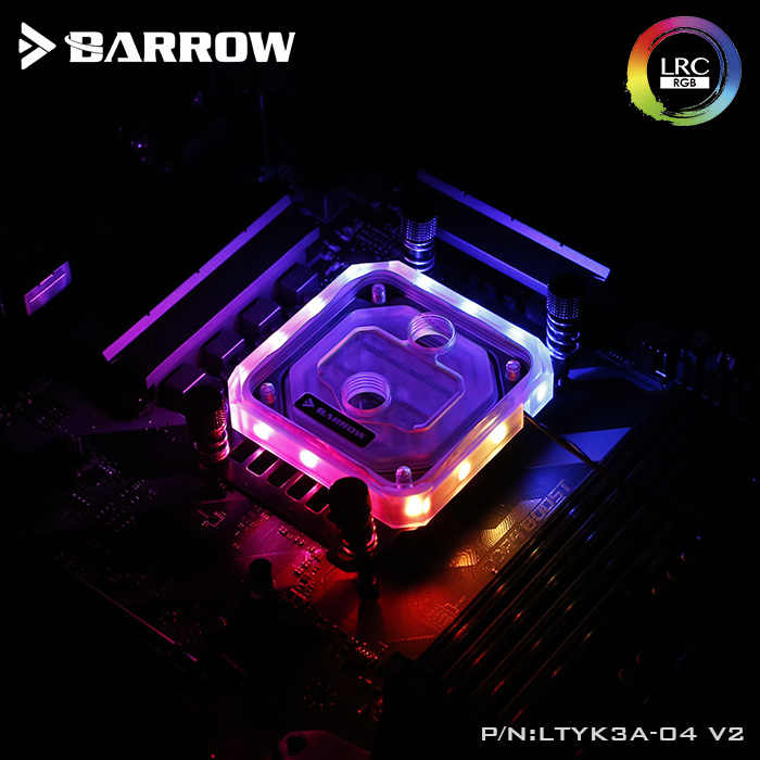 Barrow LTYK3A-04-V2 สำหรับ RyzenAMD/AM4/AM3 CPU Water Blocks, LRC RGB v2 อะคริลิค Microcutting Microwaterway Water Cooling Block