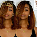 Brazilian Virgin Hair Full Lace Ombre Bob Wig Two Tone 1b/30 Human Hair Bob Wig Glueless Lace Front Blonde/Brown Straight Wig