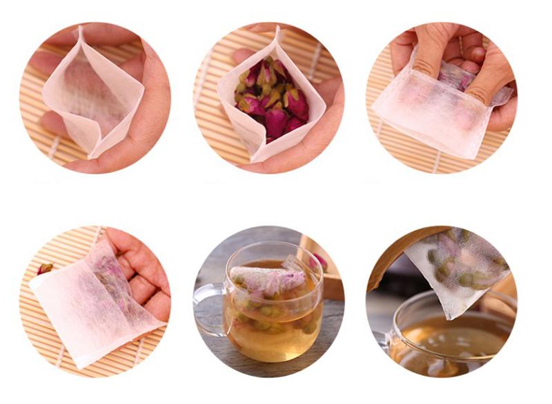 100x Biodegradable Natural Corn Fiber Tea Bag Tea/Herb Filters 4