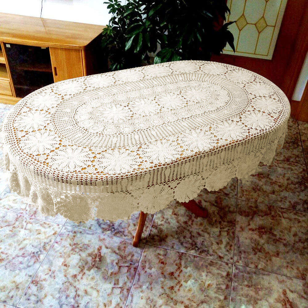 Luxury Handmade Crochet Oval Tablecloth Rural High grade Lace Hollow Out Flower Table Cover Doily Weave Sofa Pad Decoration