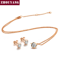Classic Simple Style One Crystal 18K Rose White Gold Plated Fashion Jewelry Sets For Women Girl