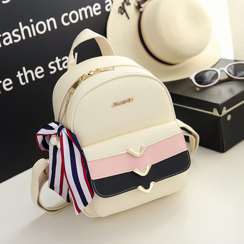 2017 New Fresh Panelled Backpack Cute Mini Backpack Wemen Korean Style PU Backpack Summer Personality Joker