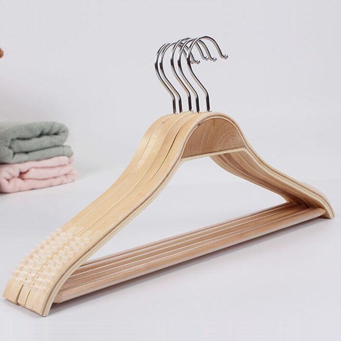 Hangerlink Lightweight Laminated Wood Hanger Coat Hanger with Round Bar 20 Pcs Lot
