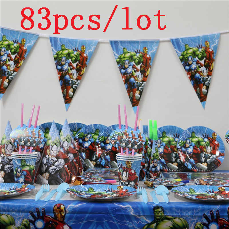 Avengers 83Pcs/lot Kids Birthday Party Wedding Hanging Banners Decoration Family Party Paper Cup Plate Napkin Tablecloth Supply