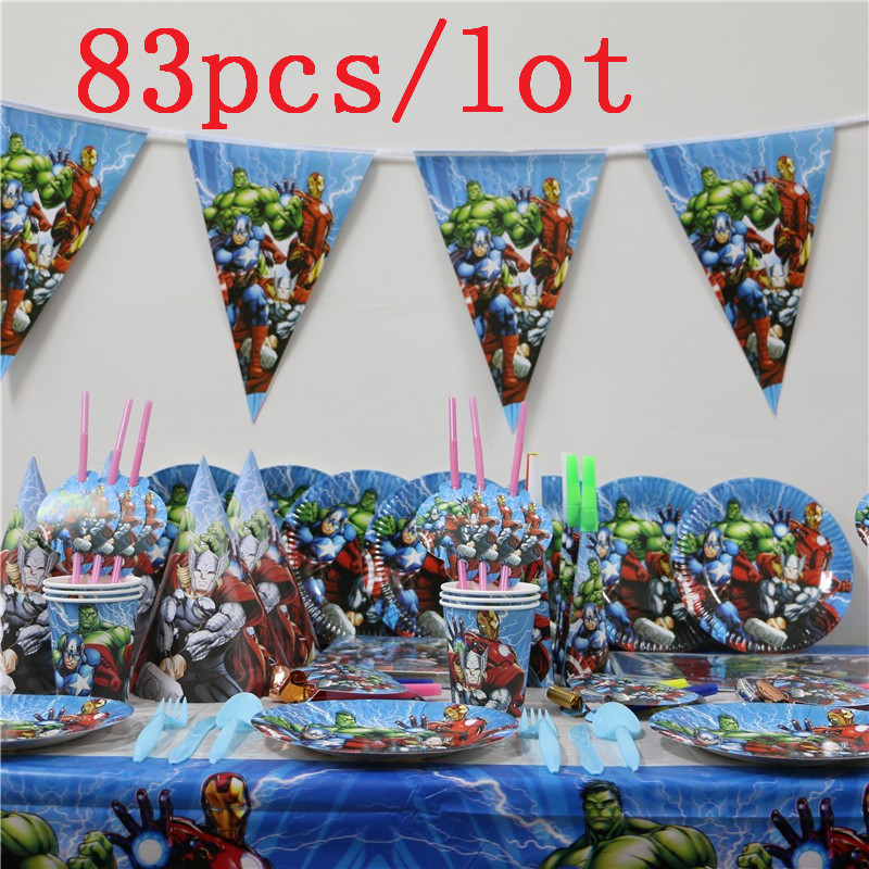 Avengers 83Pcs/lot Kids Birthday Party Wedding Hanging Banners Decoration Family Party Paper Cup Plate Napkin Tablecloth SupplyAvengers 83Pcs/lot Kids Birthday Party Wedding Hanging Banners Decoration Family Party Paper Cup Plate Napkin Tablecloth Supply
