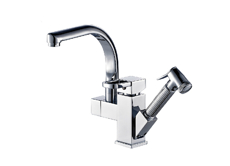 kitchen faucet with pull out sprayer aliexpress buy deck mounted chrome brass kitchen 27067