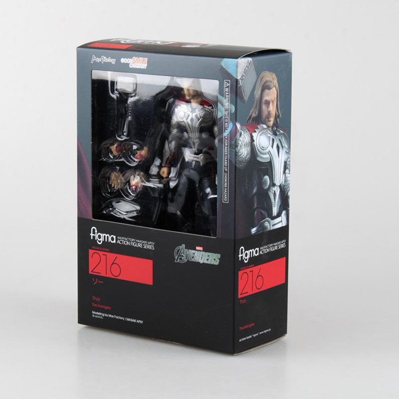 16cm Avengers Thor Figma 216 Juguetes PVC Action Figure Thor Hammer Brinquedos Collectible Model Kids Toys Doll new metal gear solid v action figure toys 16cm mgs snake figma model collectible doll mgs figma figure kids toys christmas gifts