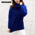 Misun 2017 primavera y otoño suéter de las mujeres térmico medio-largo flojo engrosamiento equipo de punto de cuello alto suéter de punto