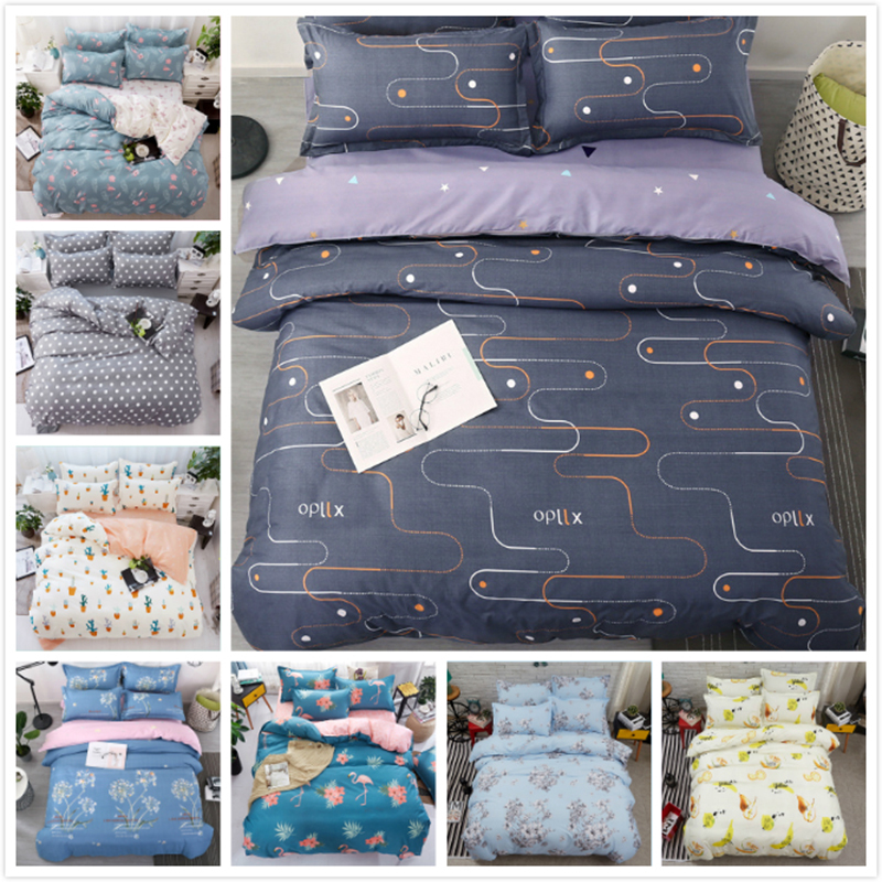 AB Side Cotton Bedding Set 3pcs 4pcs Bedlinens Child Bed Linen Single Twin Queen King Full Size Duvet Cover 1.2/1.35/1.5/1.8/2 m