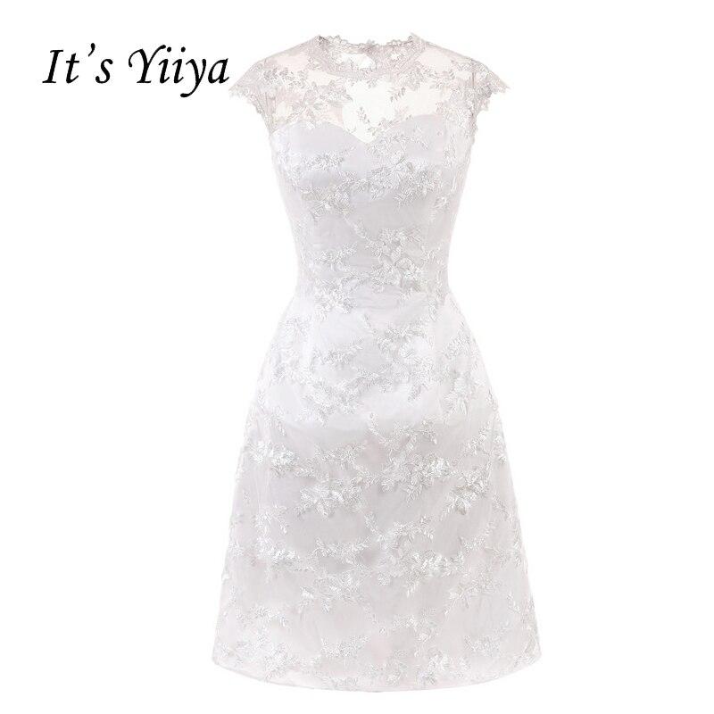Its Yiiya White Illusion Flowers Sleeveless Zipper Taffeta Straight