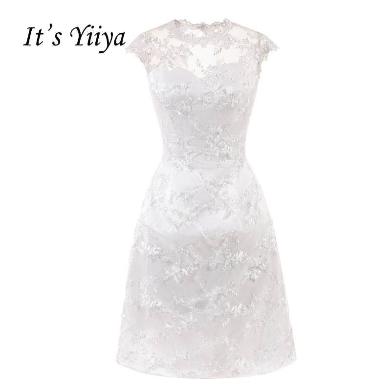 It's YiiYa White Illusion Flowers Sleeveless Zipper Taffeta Straight   Cocktail     Dresses   Knee Length Formal   Dress   Party Gowns 7556