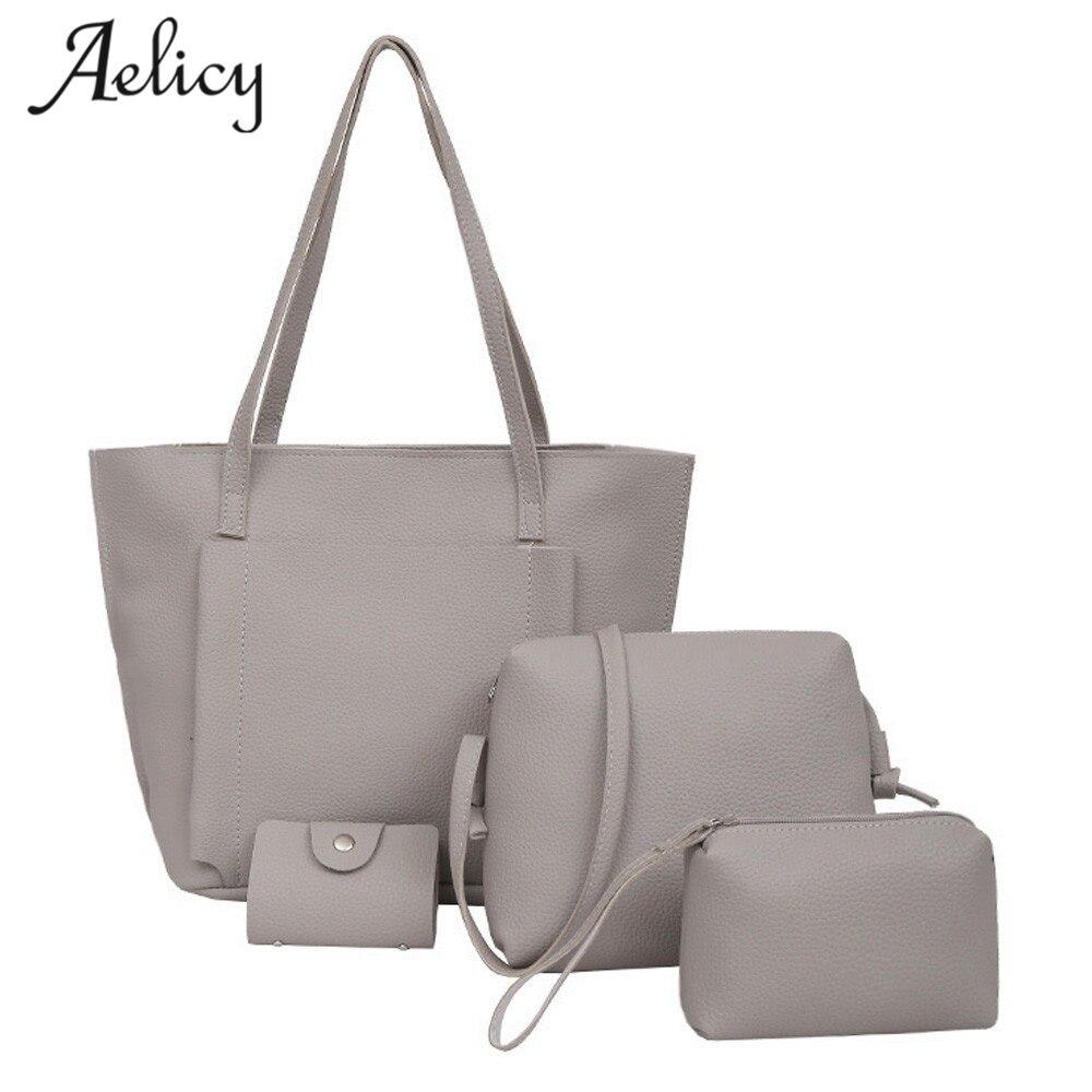 Aelicy Four Set Handbag Shoulder Bags Four Pieces Tote Bag Crossbody Wallet Female Bag Women Leather Handbags Messenger Bag