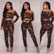 New hot fashion personality camouflage army green sexy slim casual wrapped chest tight high waist female two-piece suit