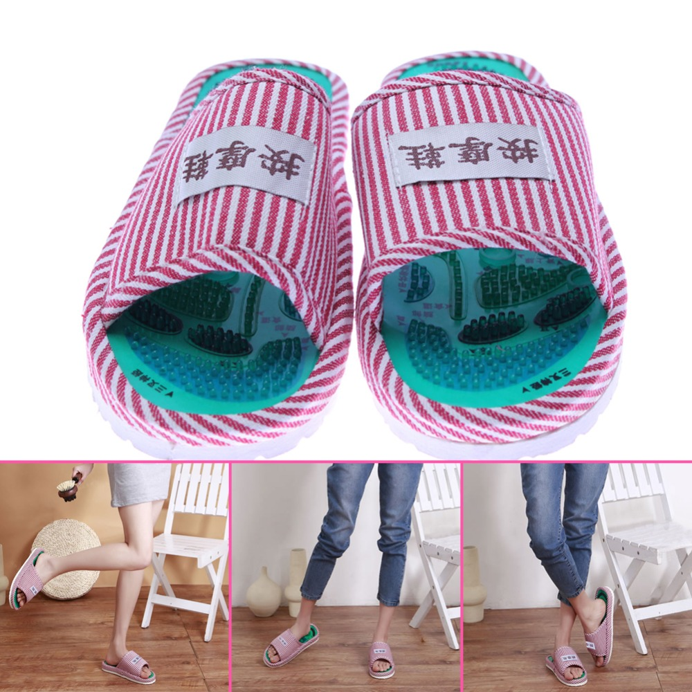 1 Pair Foot Acupoint Massager Shoes Slippers Striped Indoor Slip-resistant Shoes Foot Health Care Feet Massage for Women and Men 1 pair health care foot acupoint massager flat slippers for male female