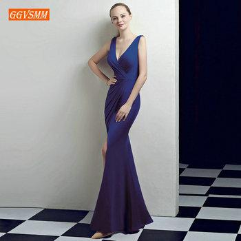 58c640633 Real de la moda azul de corte Slim vestidos de noche largo 2019 Sexy sirena  vestidos de noche fotos reales de cuello en V Spandex banquete Formal  vestido