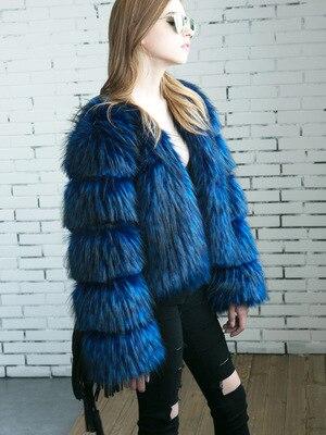 Mt0659 De Couture Automne Bleu Fourrure Renard noir D'hiver Faux Manteau Et qwXB18