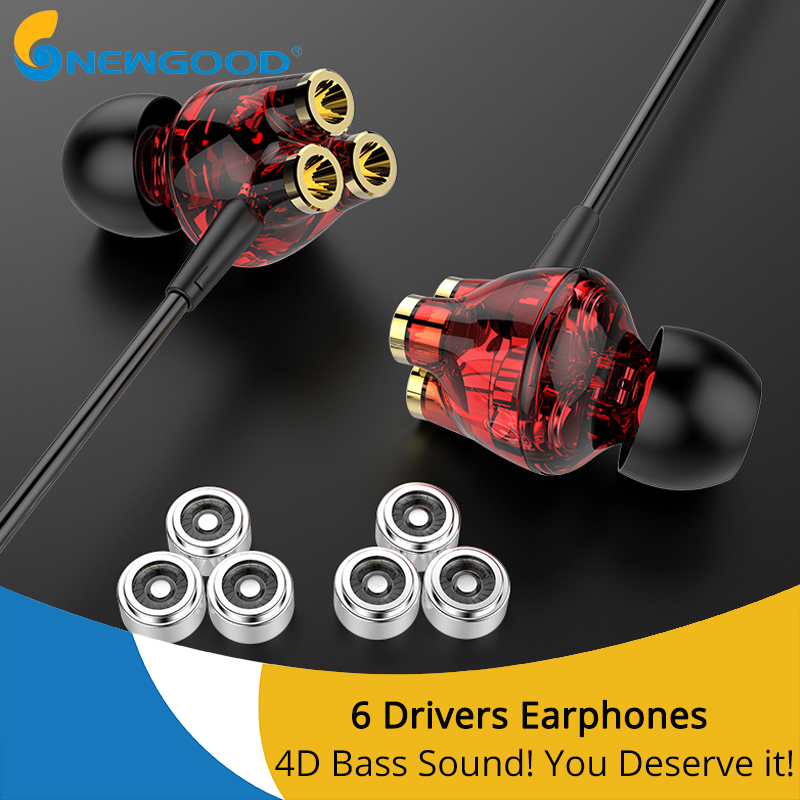 3.5mm Headset Gamer 6 Dynamic Driver Unit In-ear Bass Stereo Sports Earphones Headset with MIC For Phone computer PC gaming plextone x46m in ear earphone removable metal 3 5mm stereo bass earbuds gaming headset with mic for computer phone iphone sport