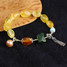 gemstone jewelry wholesale ethnic natural yellow amber red agate jade DIY beaded bracelet for female недорого