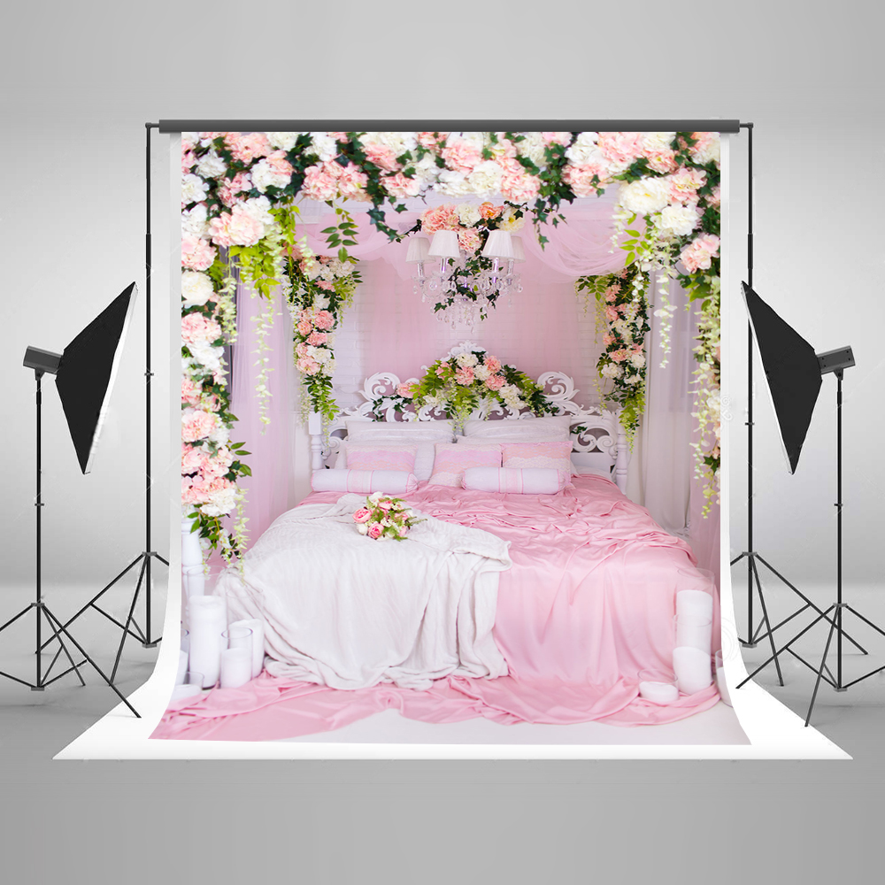 Kate Pink Indoor Warmth Photography Backdrop For Photo Flower Wedding Custom Photo Backdrops Bed Princess Girl Background