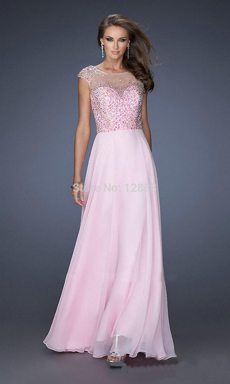 Cap Sleeve Backless Orange Light Blue Pink Chiffon Prom Dress New ...