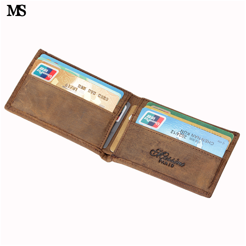 MS Top Crazy Horse Leather Fashion Men's Money Clip Slim Bifold Wallets Vintage ID Credit SD Card Bag Money Wallet Coffee K108