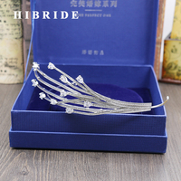 HIBRIDE White Gold Color AAA Cubic Zircon Unique Hair Accessories Women Crown Anniversary Gifts C 34