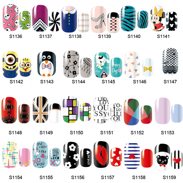 14 Tips NAIL Art Full Self Adhesive Stickers Polish Foils Transfer Tips Wrap Decals Manicure Tool top nail 20 rolls of laser gold silver glitter striping tape line nail art tips decals beauty transfer foil stickers for nails