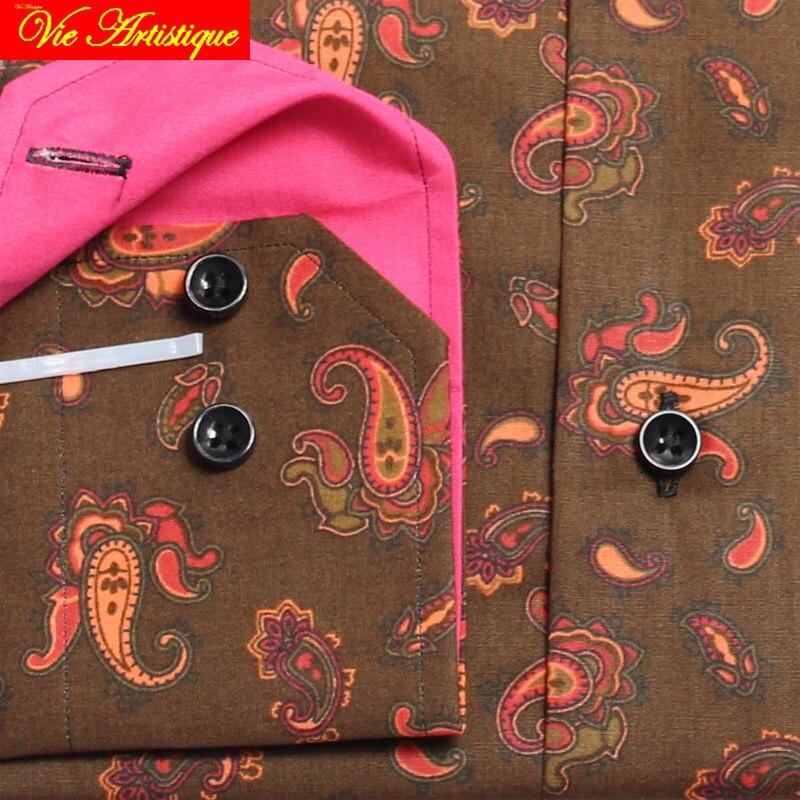 Personalizado sob medida feito sob medida camisas de vestido floral de algodão masculino negócios formal casamento ware blusa café paisley flor 2019 - 3
