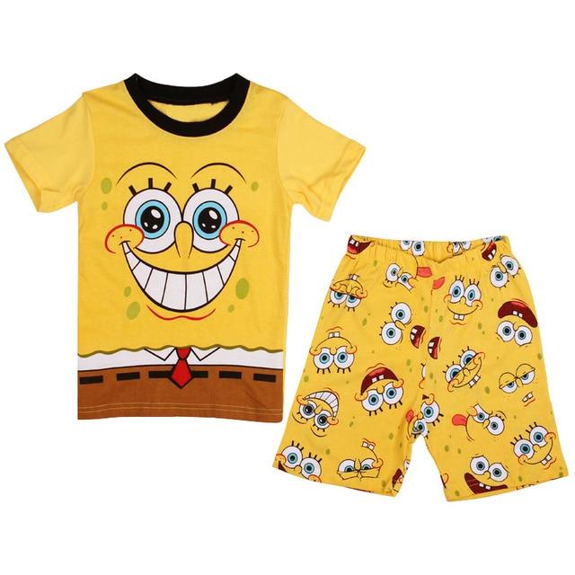 2016 kids pajamas set cartoon spongebob cotton boys girls t shirts