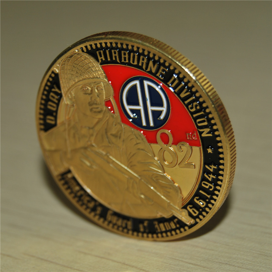 DHL free shipping 100pcs lot D DAY ARMY 82nd AIRBORNE DIVISION JUNE 6 1944 CHALLENGE COIN in Non currency Coins from Home Garden