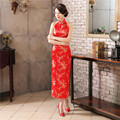 Free shipping Womens Satin Halter Cheongsam Sexy Long Qipao Backless Costume Dress Size S---XXXL Chinese Traditional Dress