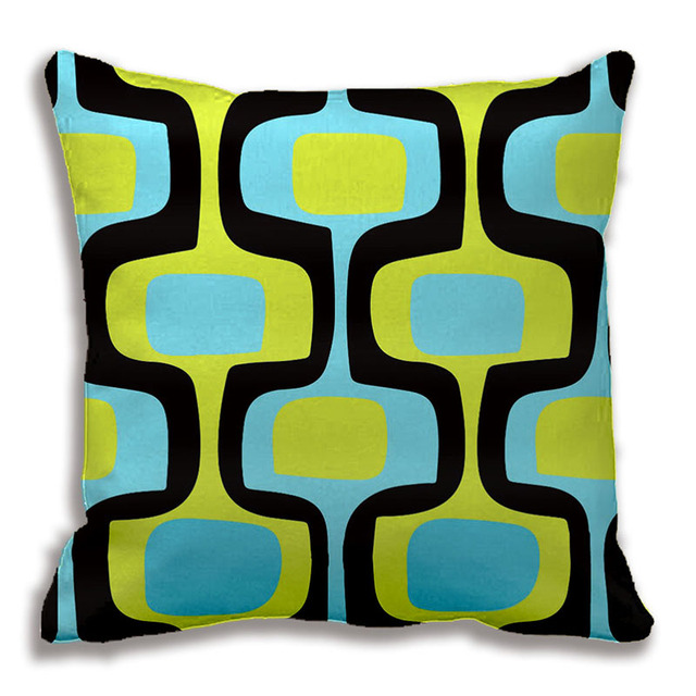 Mid Century Aqua And Chartreuse Retro Pattern Throw Pillows Interesting Chartreuse Pillows Decorative