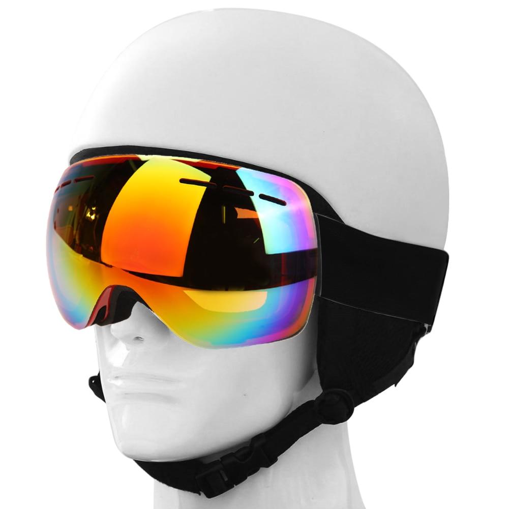 Prix pour Professionnel Ski Lunettes Motoneige Snowboard Patinage Lunettes UV400 Miroir Revêtement Lentille Anti-brouillard Lunettes Sphériques Ski Lunettes