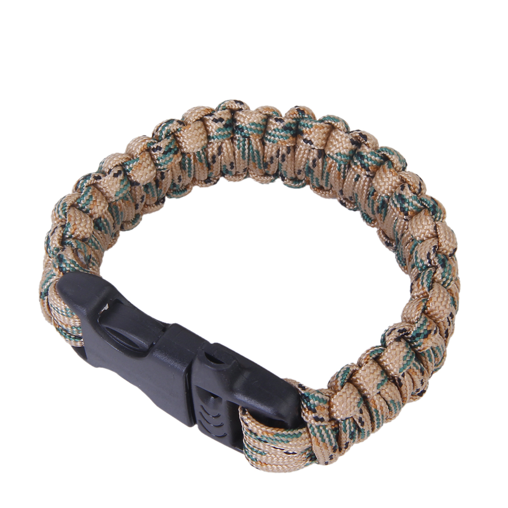 New Outdoor Sports Mens Survival Hiking Accessory Whistle Buckle Paracord Parachute Cord ...