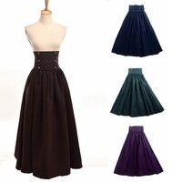 Vintage Women Steampunk Skirt Victorian Gothic High Waist Maxi Long Walking Renaissance Skirts Blue/Brown/Purple/Green