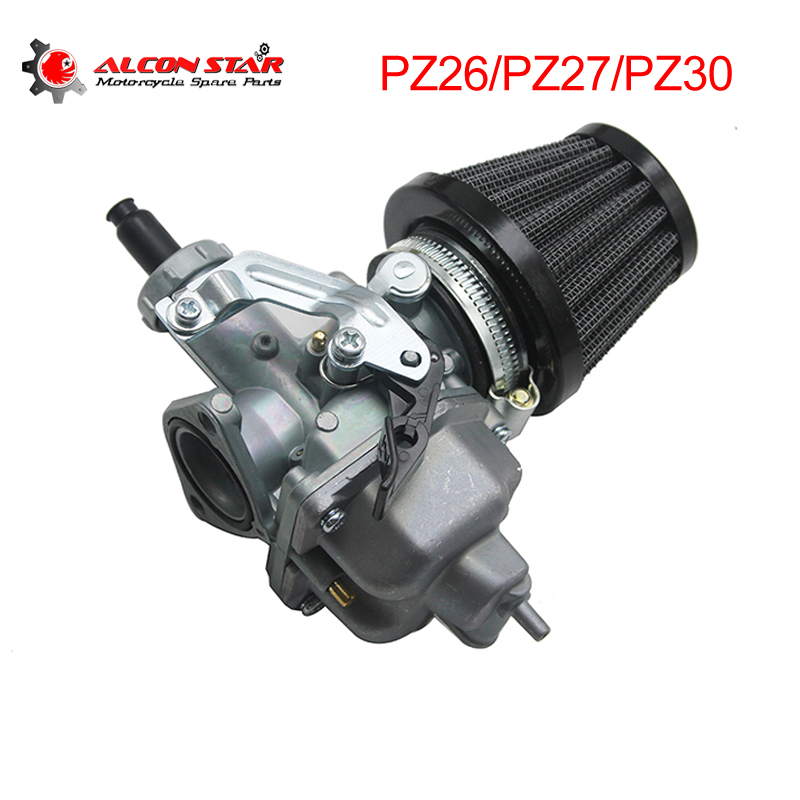 Alconstar- Motorcycle Automatic Hand Carburetor Keihi PZ26 PZ27 PZ30 with Air Filter for Mini Quad ATV Dirt Bike Kart Buggy image