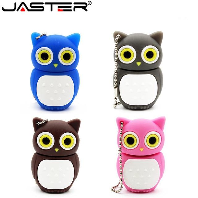 JASTER Bonito coruja usb pen drive flash drive gb 8 4 gb 16 gb pendrive memory stick usb 2.0 U disco do usb creativo 4 cores